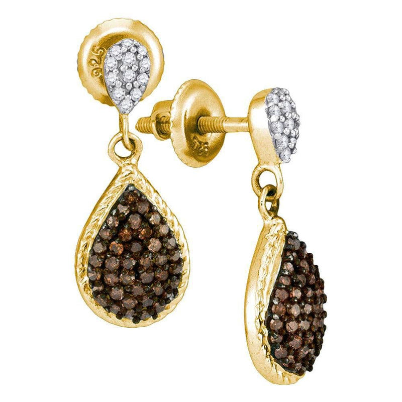 10kt Yellow Gold Womens Round Cognac-brown Color Enhanced Diamond Teardrop Dangle Earrings 1/2 Cttw