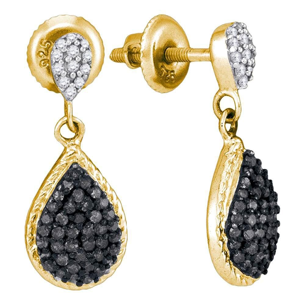 33b3cb7d6a 10kt Yellow Gold Womens Round Black Color Enhanced Diamond Teardrop Cluster  Dangle Earrings 1/2 Cttw