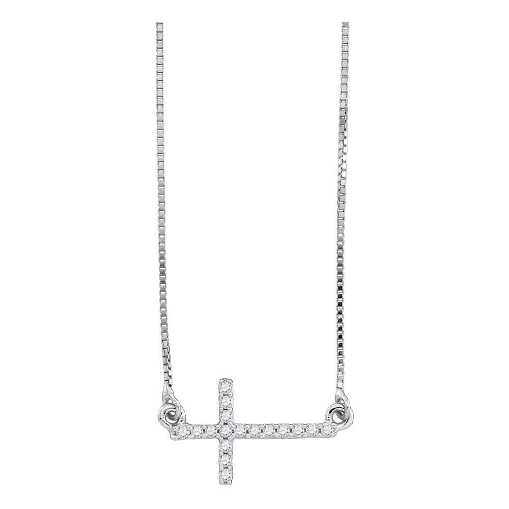 10K White Gold Womens Round Diamond Cross Pendant Necklace Chain 1/10 Cttw