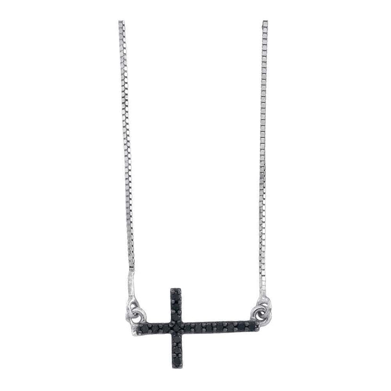 10K White Gold Womens Round Black Color Enhanced Diamond Horizontal Cross Necklace 1/10 Cttw