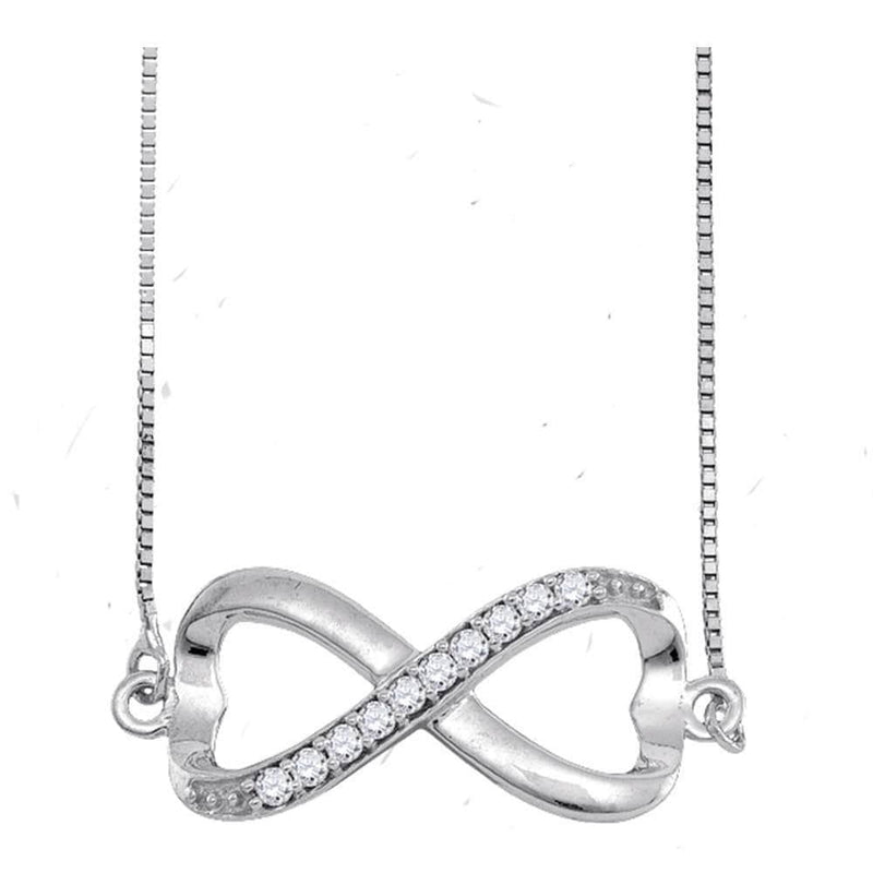 Sterling Silver Womens Round Diamond Infinity Pendant Necklace 1/10 Cttw
