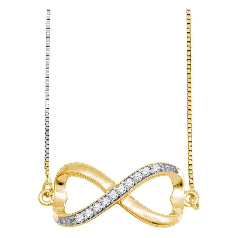 10K Yellow Gold Womens Round Diamond Infinity Pendant Necklace 1/10 Cttw