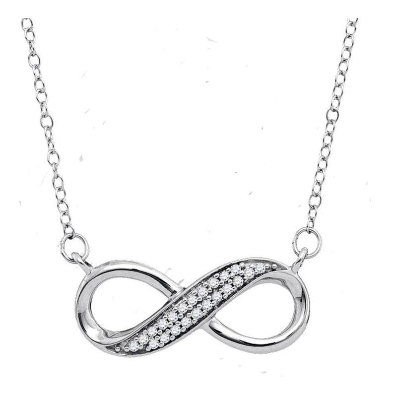 Sterling Silver Womens Round Diamond Infinity Pendant Necklace 1/6 Cttw