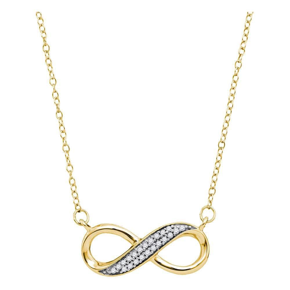 10K Yellow Gold Womens Round Diamond Infinity Pendant Necklace 1/6 Cttw