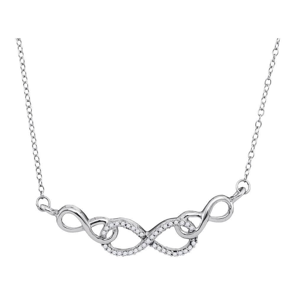 10K White Gold Womens Round Diamond Infinity Pendant Necklace 1/5 Cttw