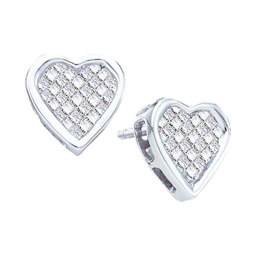 14kt White Gold Womens Princess Diamond Cluster Heart Screwback Stud Earrings 1/2 Cttw
