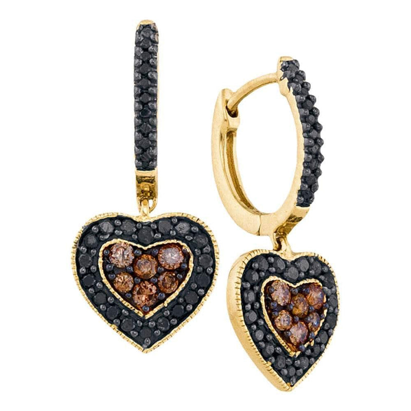 Yellow Gold Diamond Heart Cluster Earrings