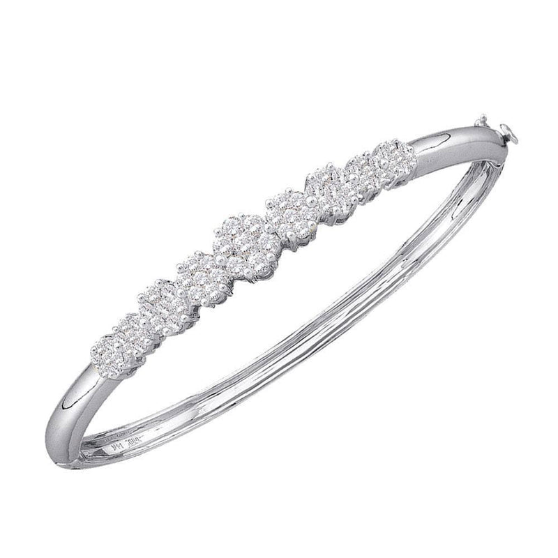 14K White Gold Womens Round Diamond Bangle Bracelet 2.00 Cttw