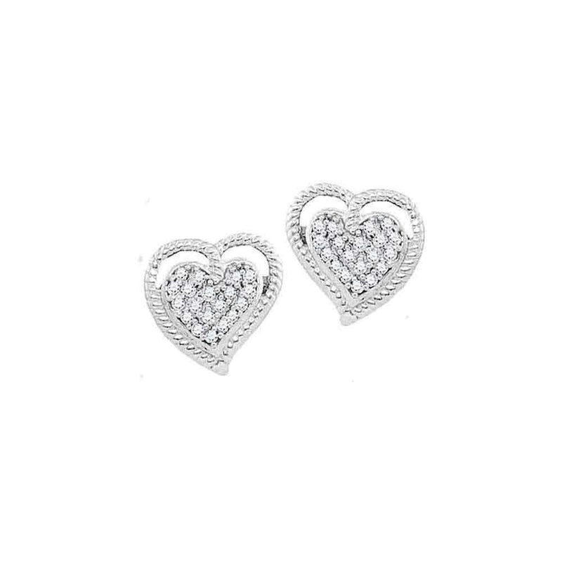 10kt White Gold Womens Round Diamond Rope Heart Cluster Earrings 1/10 Cttw