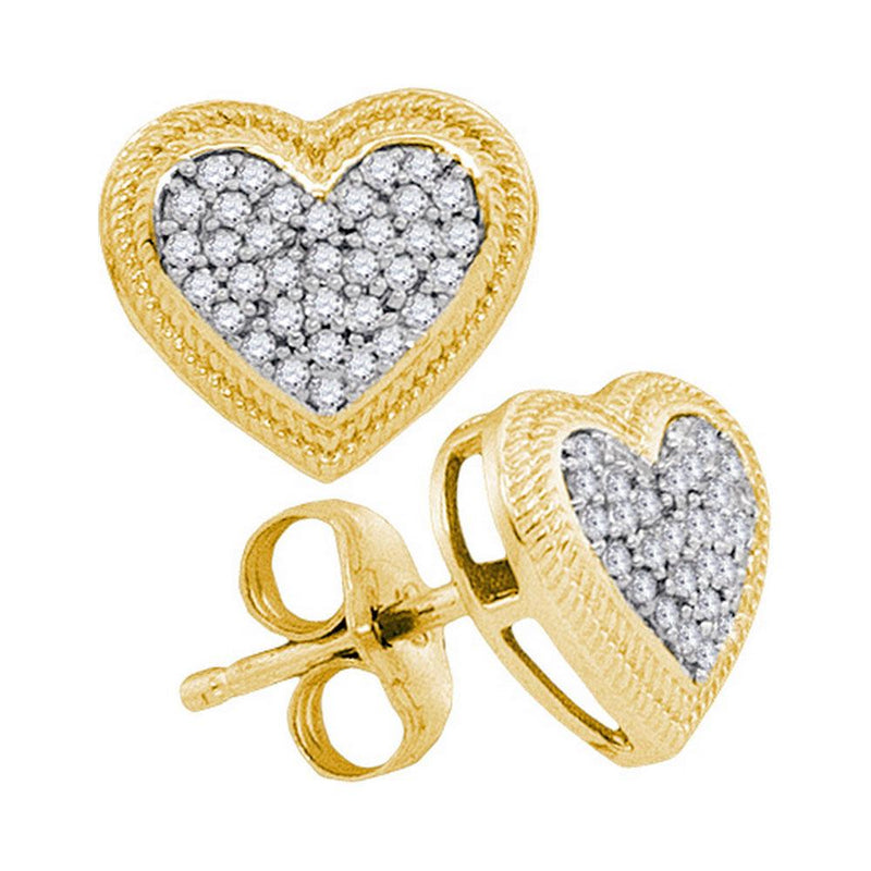 10kt Yellow Gold Womens Round Diamond Heart Cluster Earrings 1/5 Cttw