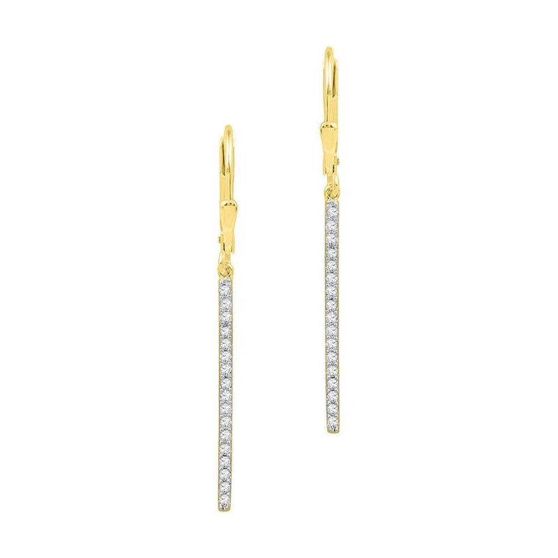 10kt Yellow Gold Womens Round Pave-set Diamond Stick Dangle Earrings 1/4 Cttw