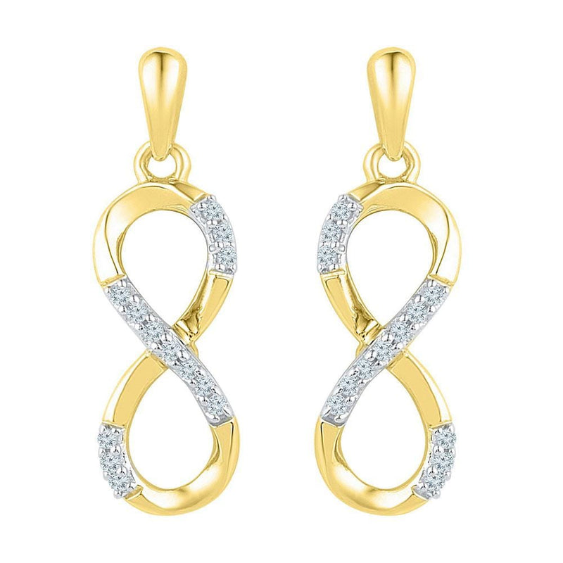 yellow Gold Diamond infinity Earrings