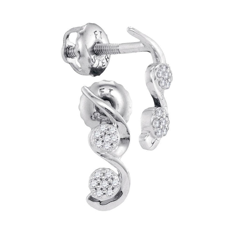 10kt White Gold Womens Round Diamond Cradled Cluster Screwback Earrings 1/12 Cttw