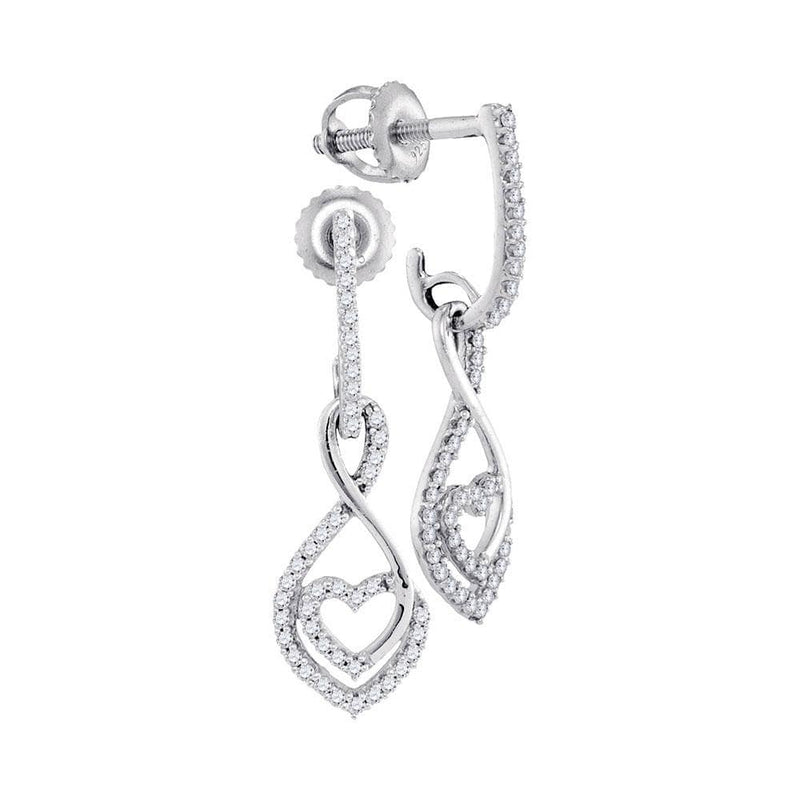 10kt White Gold Womens Round Diamond Heart Dangle Screwback Earrings 1/4 Cttw