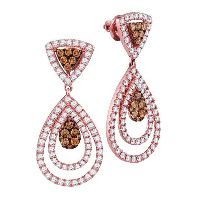 14kt Rose Gold Womens Round Brown Color Enhanced Diamond Teardrop Dangle Earrings 2-1/2 Cttw
