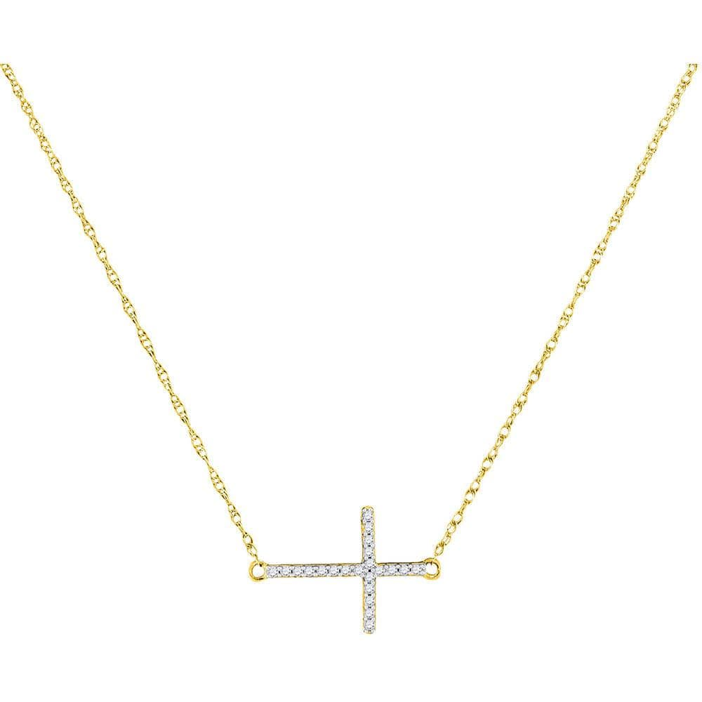9bbf013c79933 10K Yellow Gold Womens Round Diamond Sideways Horizontal Cross Pendant  Necklace 1/20 Cttw