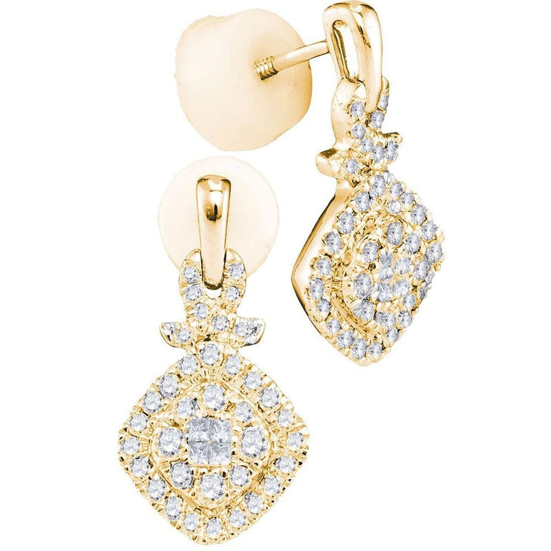 Princess Diamond  Dangle Earrings