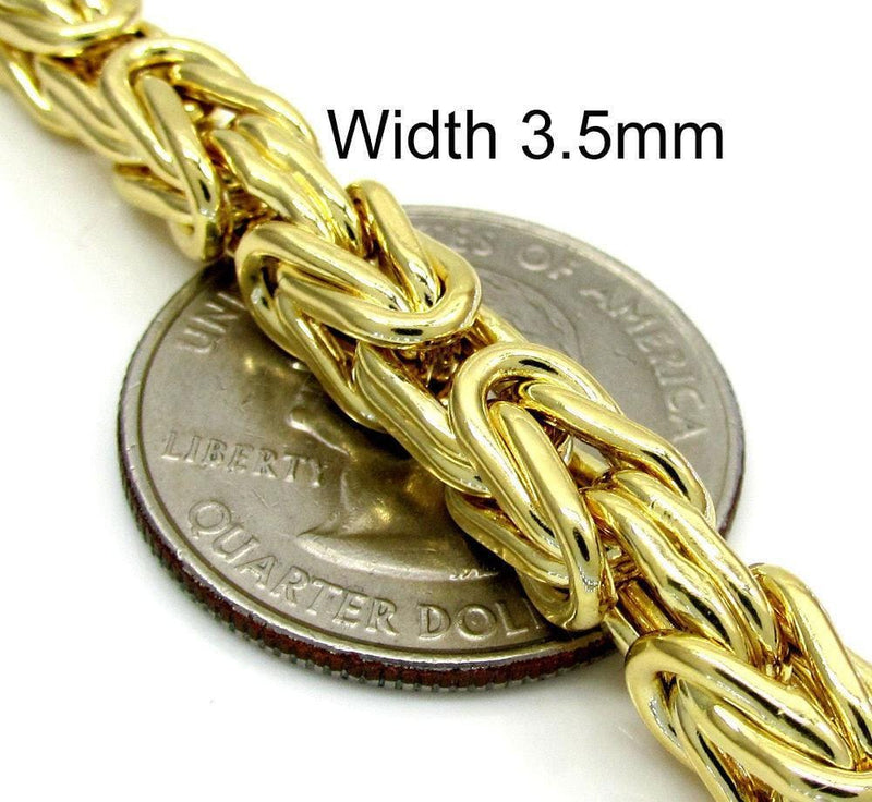 3.5MM solid gold byzantine bracelet