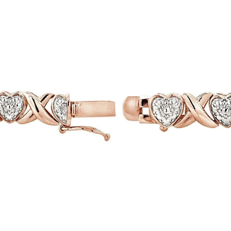 18K Rose Gold Plated Diamond Heart Shape Tennis Bracelet, Bracelets, Jawa Jewelers, Jawa Jewelers