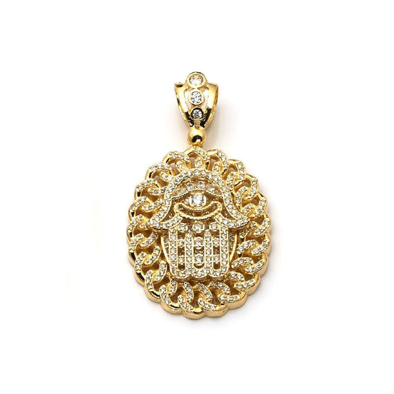 10K Solid Yellow Gold Oval Shape Hand Pendant 19.00 Grams, Pendants, JJ-AG, Jawa Jewelers