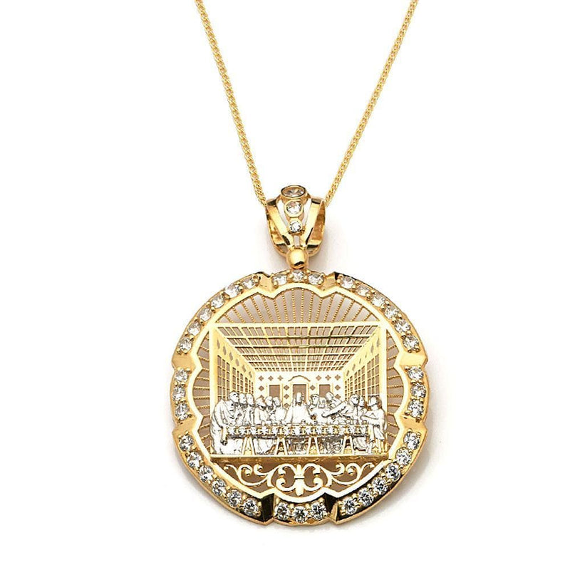 gold round pendant necklace