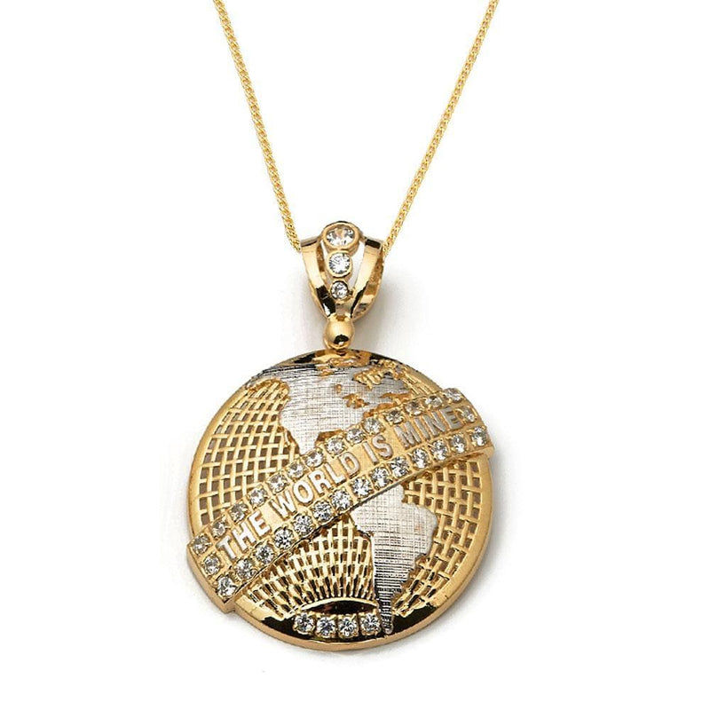 10K Yellow Gold 17.50 Grams Mens Globe Pendant - Jawa Jewelers