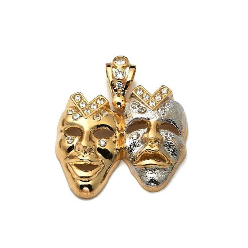 gold double mask pendant