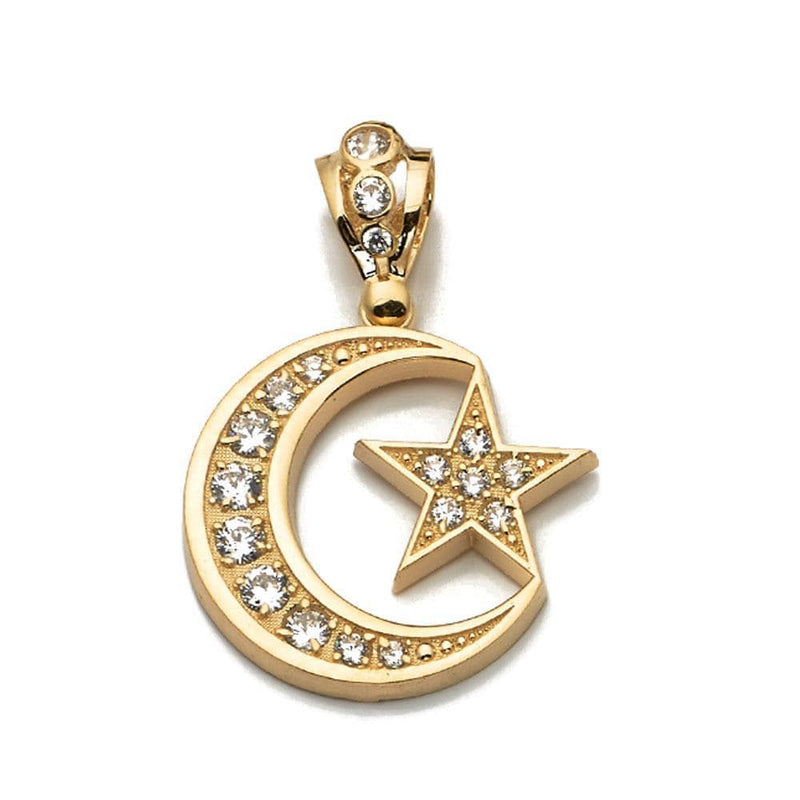 10K Yellow Gold Moon and Star Fashion Pendant 6.60 Grams