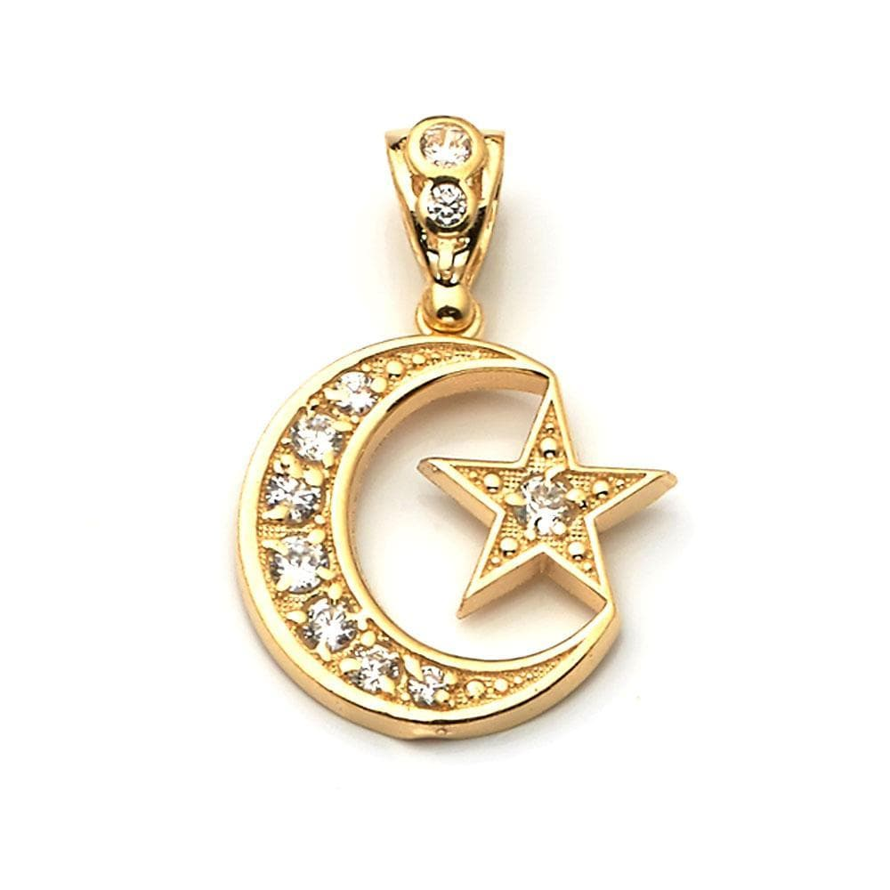10K Yellow Gold Moon and Star Fashion Pendant 4.80 Grams