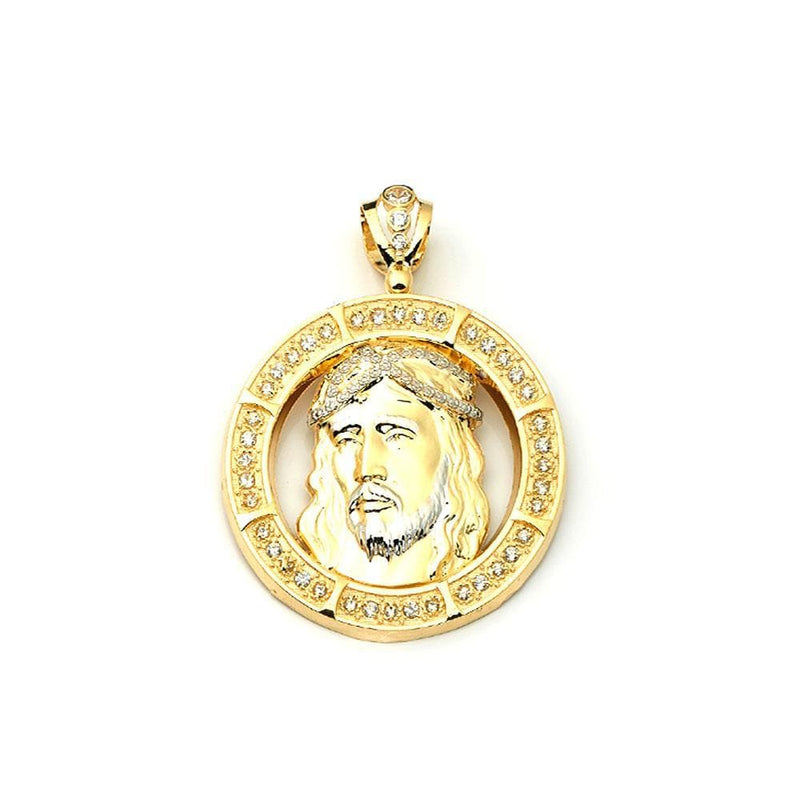 10K Yellow Gold Jesus Face Round Fashion Pendant - Jawa Jewelers
