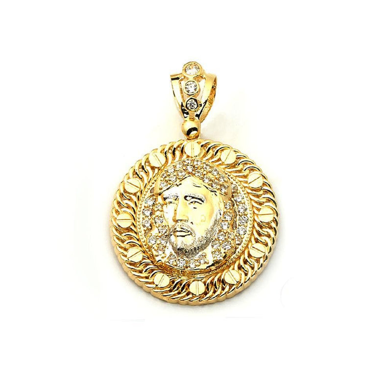 gold face pendant