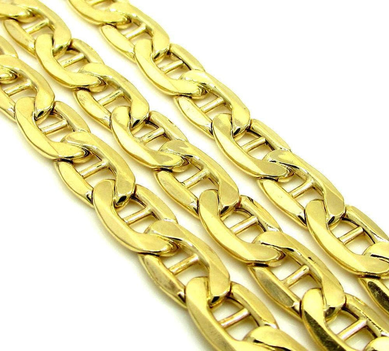 14K Yellow Gold Men's 7MM Concave Mariner Chains & Bracelet