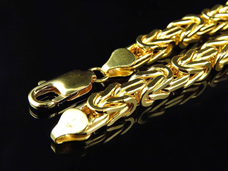 14K Yellow Gold Men's 4MM Solid Byzantine Chains & Bracelet, Chain, JJ-AG, Jawa Jewelers