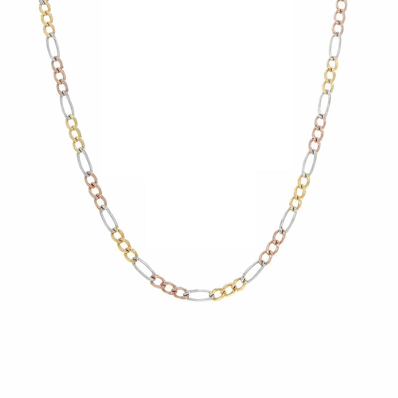 14K Yellow Gold Men Women's 5MM Tricolor Solid Figaro Chain & Bracelet, Chain, JJ-AG, Jawa Jewelers