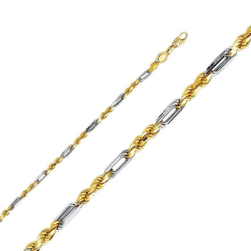 14K Yellow  Gold Men's 2.5MM Two Tone Fiagarope Chains & Bracelet,Lobster Clasp, Chain, JJ-AG, Jawa Jewelers