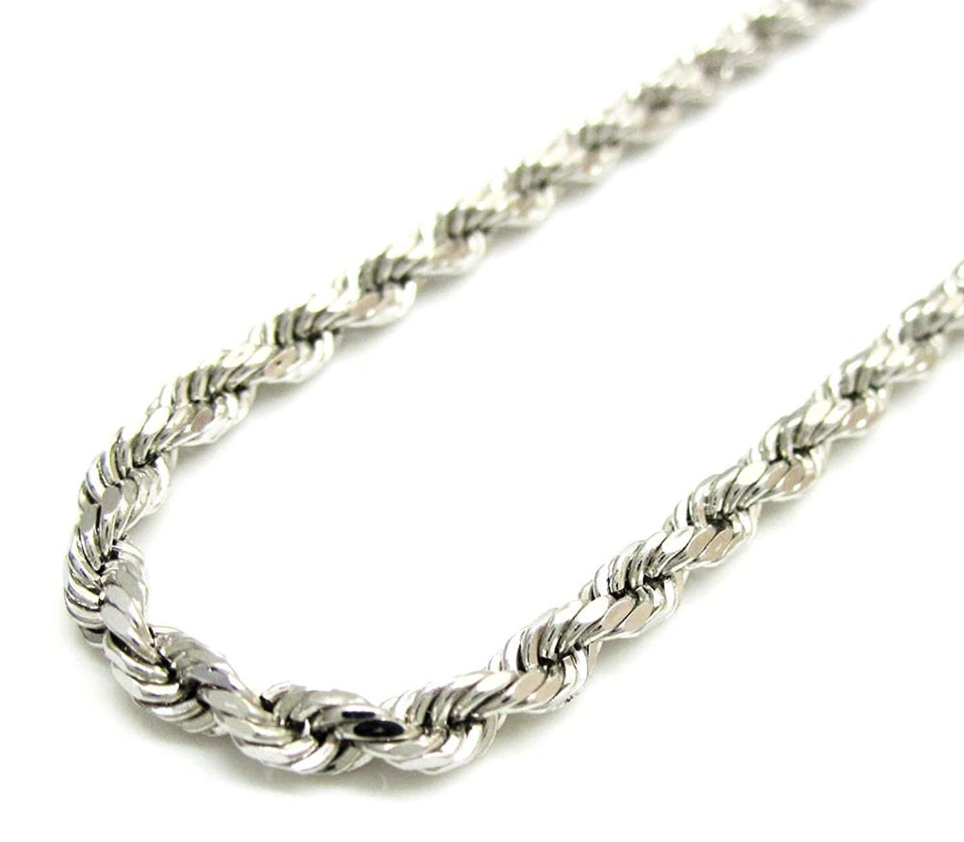 82e890965a6 ... 14K White Gold Men s 1MM Diamond Cut Ropes Chains   Bracelet