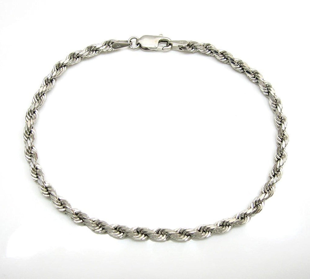 14K White Gold Men's 4MM Diamond Cut Ropes Chains & Bracelet