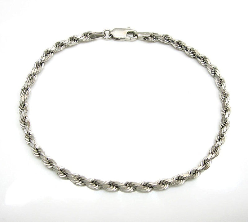 14K White Gold Men's 5MM Diamond Cut Ropes Chains & Bracelet