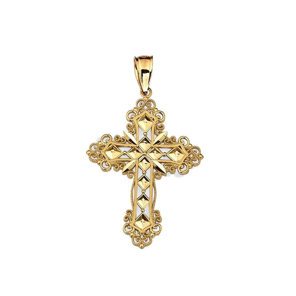10K Yellow Gold 1.90 Grams Fashion Cross Pendent - Jawa Jewelers