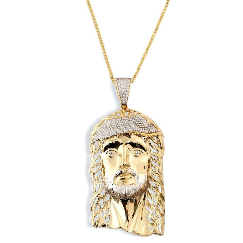 10K Yellow Gold 10.30 Grams Fashion Jesus Face Pendant - Jawa Jewelers