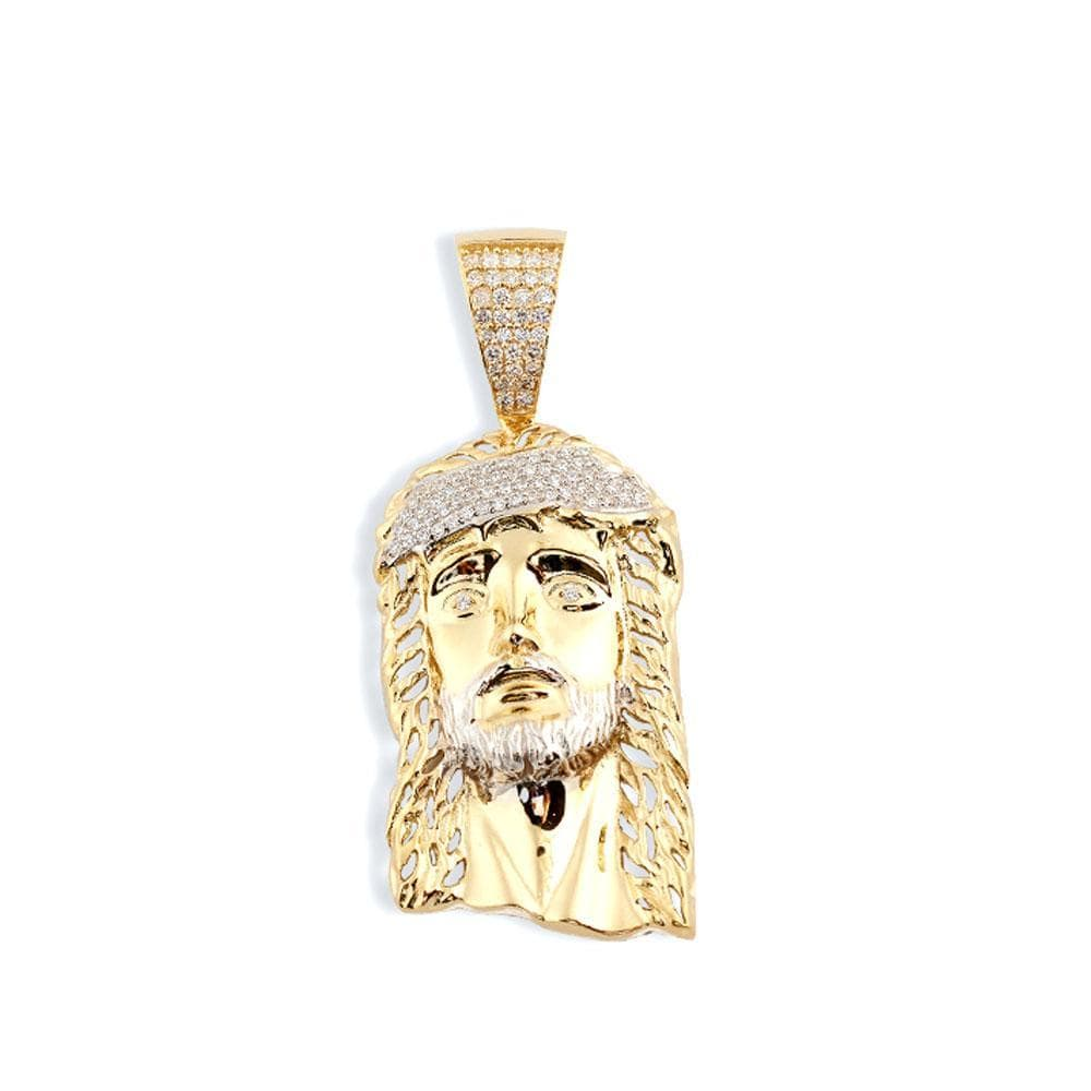 10K Yellow Gold 10.80 Grams Fashion Jesus Face Pendant, Pendants, JJ-AG, Jawa Jewelers