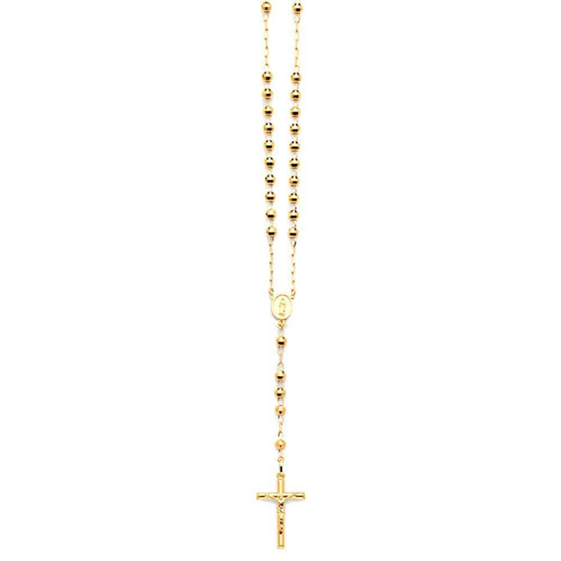 "10K Yellow Gold 5MM Rosary Necklace Crucifix Pendant 26"" Inch, Rosaries, JJ-AG, Jawa Jewelers"