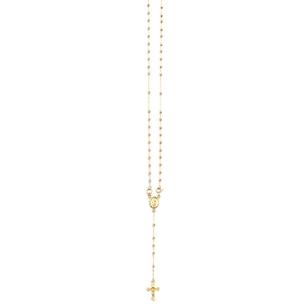 "10K Yellow Gold 2.5MM Rosary Necklace Crucifix Pendant 18"" Inch - Jawa Jewelers"