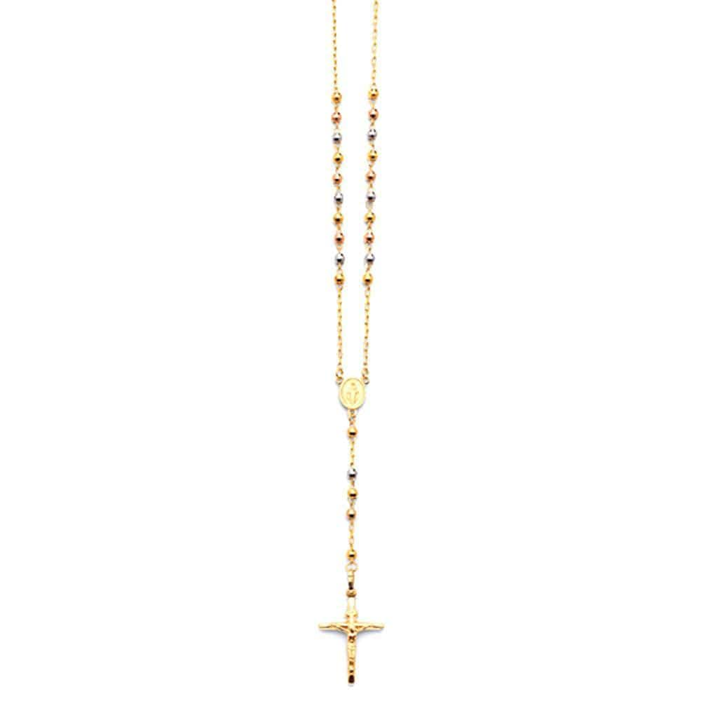 "14K Gold Virgin Mary Tricolor Rosary Crucifix Pendant 3mm Necklace 26"" Inch, Rosaries, JJ-AG, Jawa Jewelers"