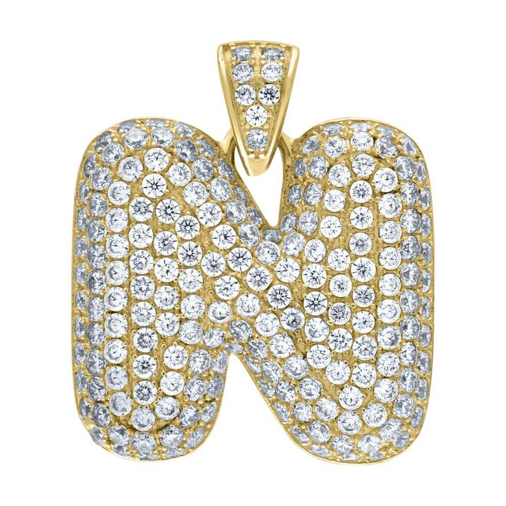 "10K Yellow Gold Iced Out CZ Bubble Initial Letter ""N"" Charm Pendant 5.4 Grams"