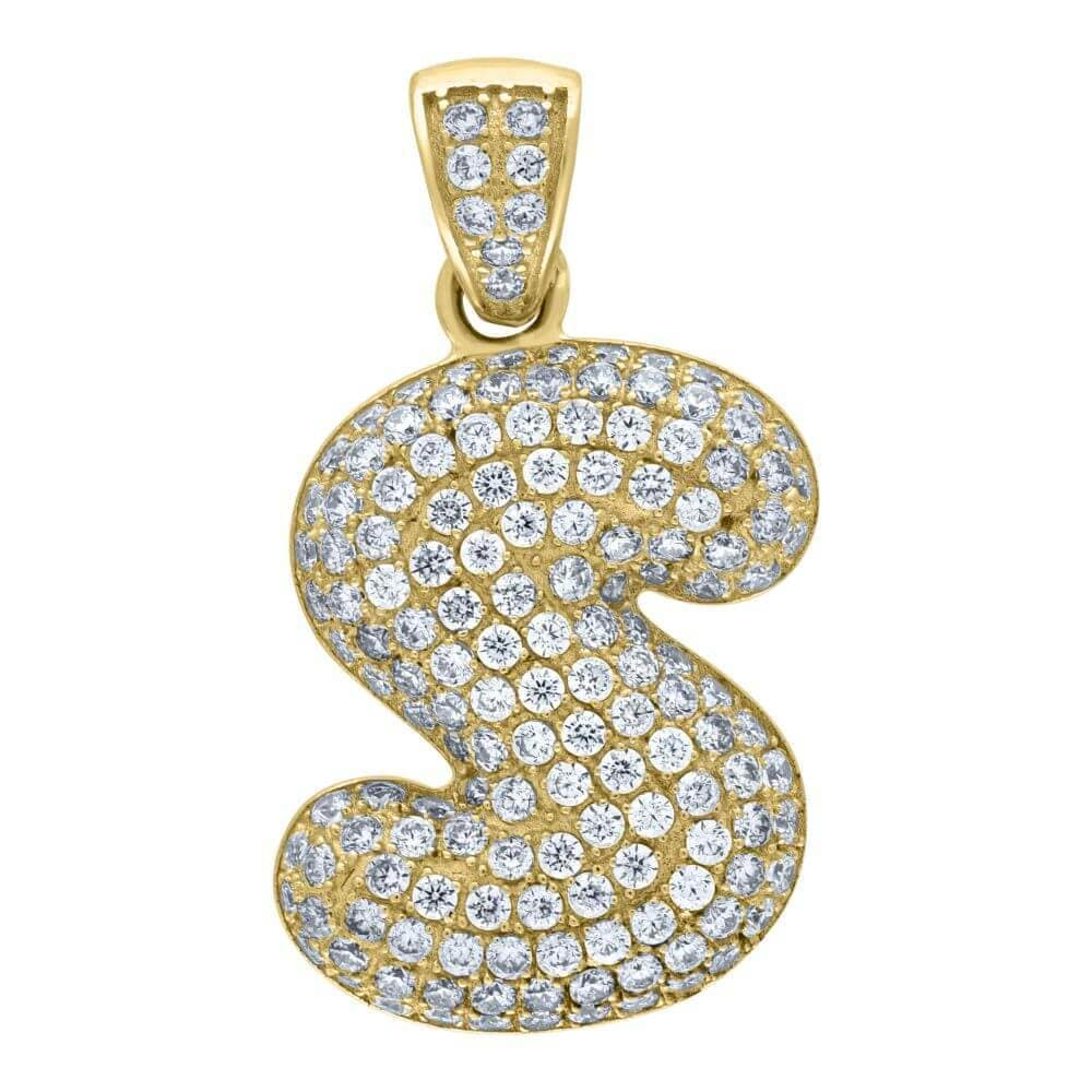 "10K Yellow Gold Iced Out CZ Bubble Initial Letter ""S"" Charm Pendant 3.8 Grams"