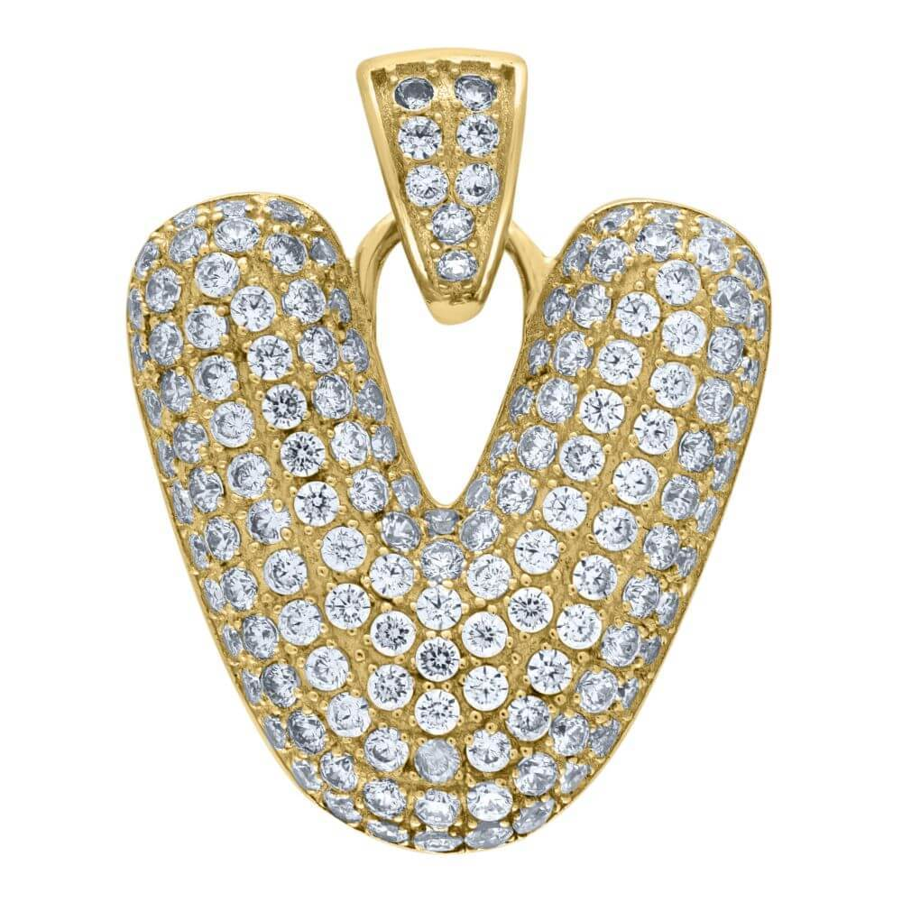 "10K Yellow Gold Iced Out CZ Bubble Initial Letter ""V"" Charm Pendant 3.6 Grams"
