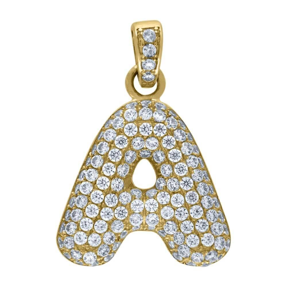 "10K Yellow Gold Iced Out CZ Bubble Initial Letter ""A"" Charm Pendant 2 Grams"