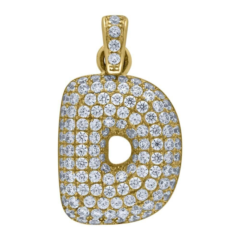 "10K Yellow Gold Iced Out CZ Bubble Initial Letter ""D"" Charm Pendant 2.2 Grams"