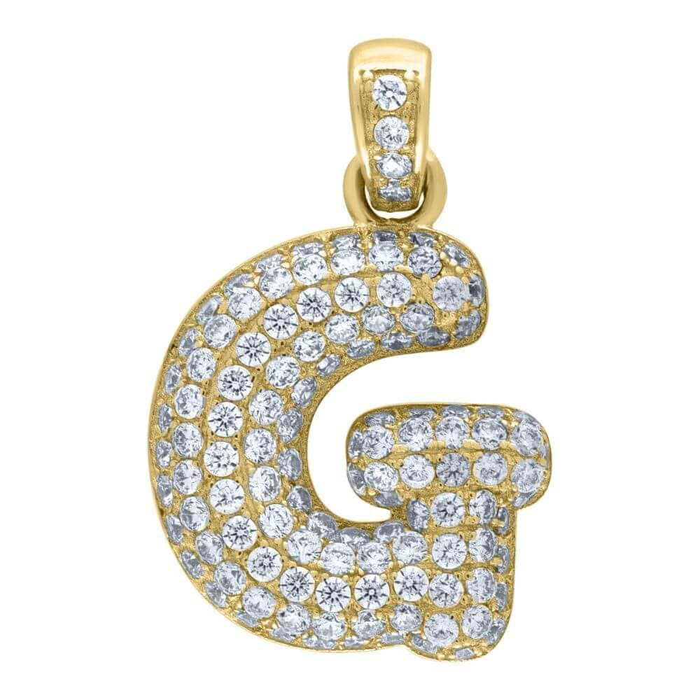 "10K Yellow Gold Iced Out CZ Bubble Initial Letter ""G"" Charm Pendant 2.2 Grams"